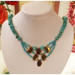 howlite turquoise collier éthnique