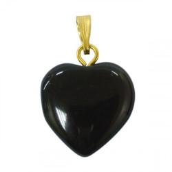Pendentif Coeur 15mm obsidienne oeil celeste