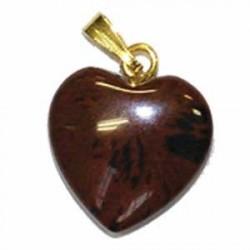 pendentif en coeur  obsidienne brune