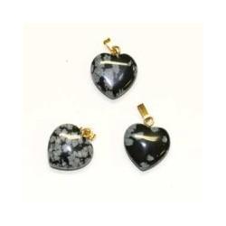 pendentif en coeur obsidienne flocon de neige